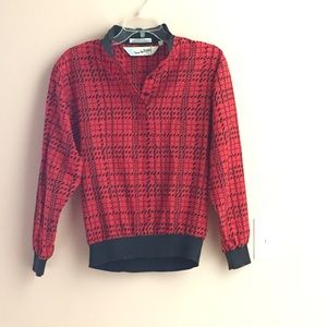 Vintage DVF Red and Black Pullover Blouse